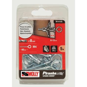 Molly Piranha hollewand plug met haak M14105 8x33 mm metaal