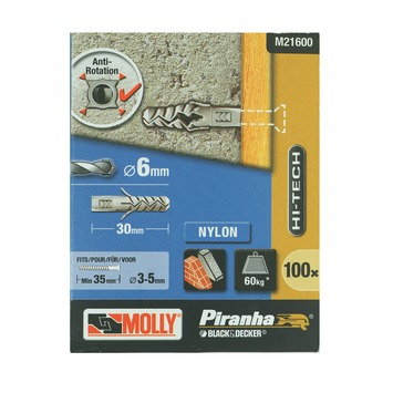Molly Piranha hi tech nylon plug M21600-XJ 6x30 mm doos