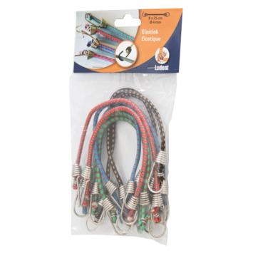 Élastique à bagage 2 crochets 25 cm 8 pièces