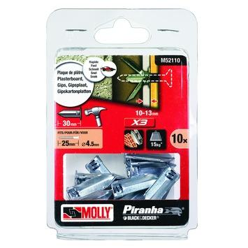 Molly Piranha hollewand plug zonder voorboren X3 M52110-XJ 4,5x35 mm metaal