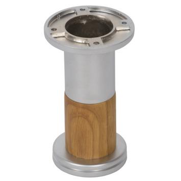 Meubelpoot rond 122 mm chroom/beuken mat