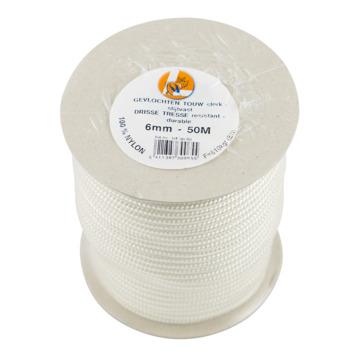 Gevlochten touw nylon wit 6 mm 50 meter