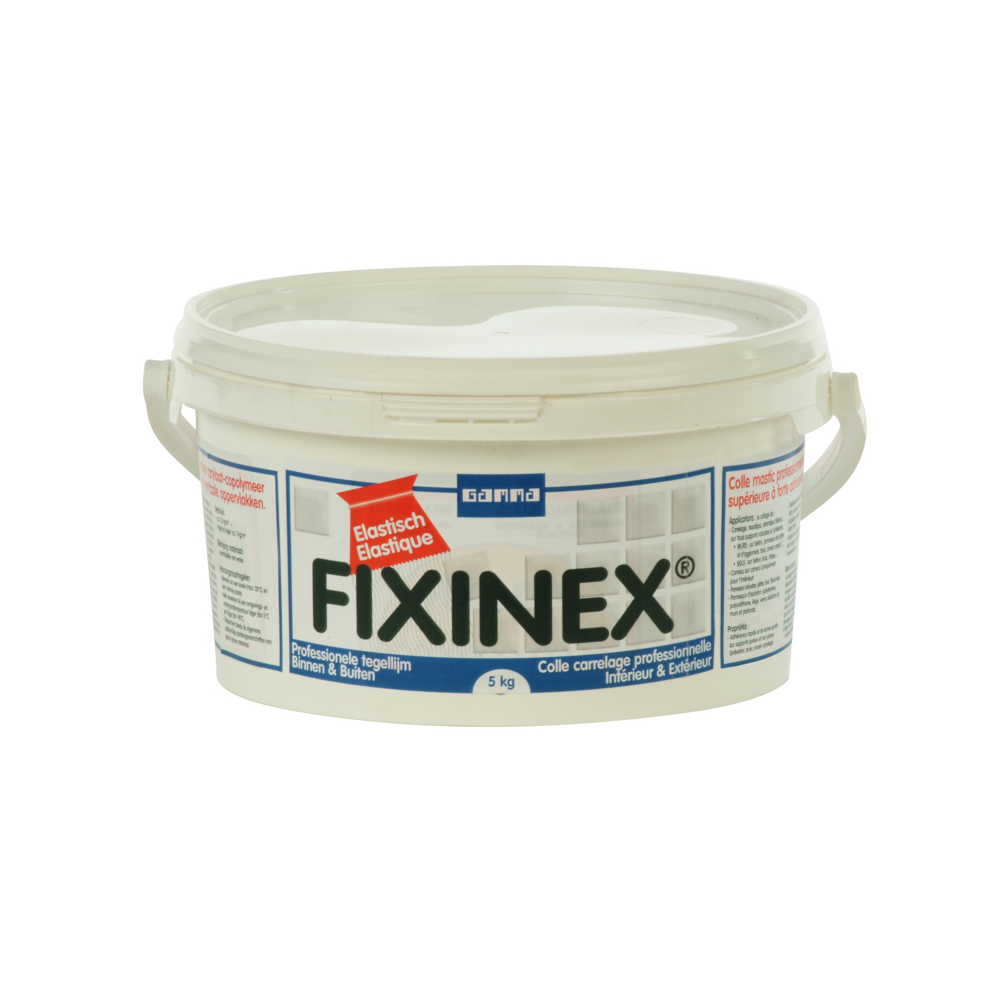 Colle pour carrelage fixinex gamma 5 kg gris colle for Colle carrelage knauf