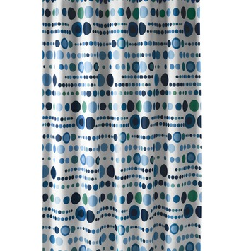 Rideau de douche à pois Gamma 180x200 cm tissu blanc/bleu/vert