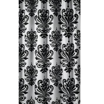 Rideau de douche Baroque GAMMA polyester 180x200 cm blanc/noir ...