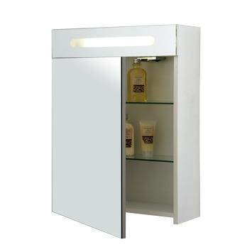 allibert soprano spiegelkast mdf 1 deur wit met verlichting en stopcontact