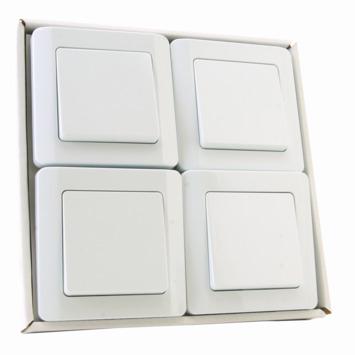 OK wisselschakelaar + afdekplaat enkelvoudig wit 4 stuks