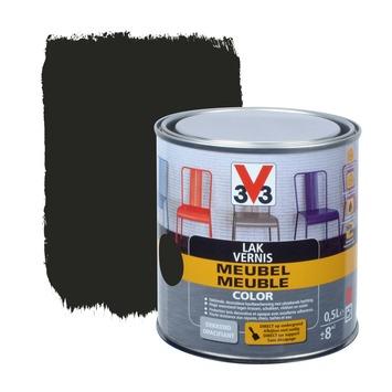 V33 lak meubel color mat zwart 0,5 L