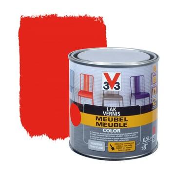V33 lak meubel color mat rood 0,5 L