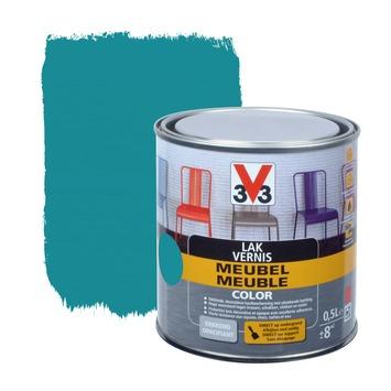 V33 lak meubel color mat aqua blauw 0,5 L