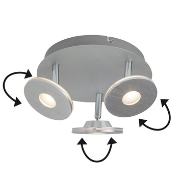Brilliant trioplaat Extra geïntegreerde LED 3X4,5W alu
