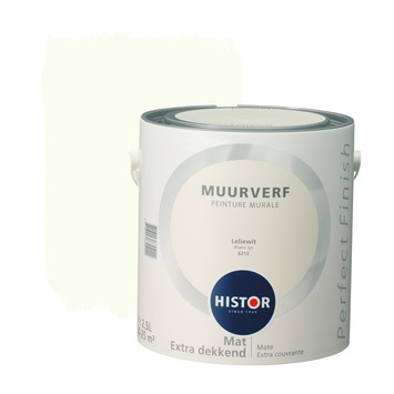 Histor Perfect Finish muurverf leliewit mat 2,5 liter