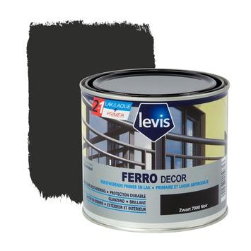 Levis Ferro Decor grondverf en afwerkingslak hoogglans zwart 500 ml