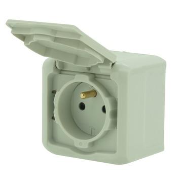 Legrand Forix opbouwstopcontact 2-polig met aarding spatwaterdicht grijs