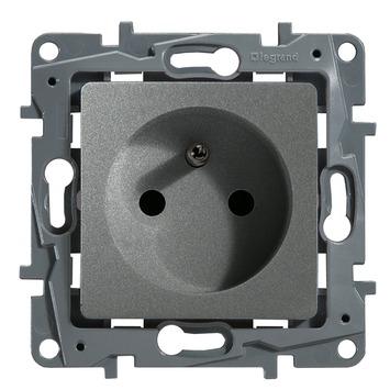 Legrand Niloé stopcontact 2-polig met aarding aluminium