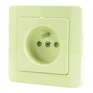 OK stopcontact 2-polig met aarding en veiligheid + afdekplaat enkelvoudig crème 4 stuks