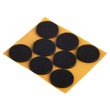 Meubelglijder zelfklevend rond 28 mm vilt bruin 8 stuks