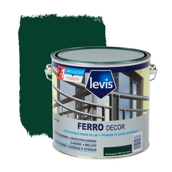 Levis Ferro Decor grondverf en afwerkingslak hoogglans donkergroen 2,5 L