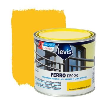 Levis Ferro Decor grondverf en afwerkingslak hoogglans kanariegeel 500 ml