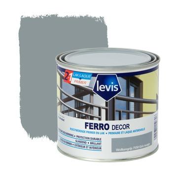 Levis Ferro Decor grondverf en afwerkingslak hoogglans wolkengrijs 500 ml