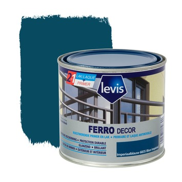 Levis Ferro Decor grondverf en afwerkingslak hoogglans imperiaalblauw 500 ml