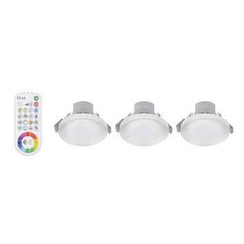 iDual inbouwspot Argon met geïntegreerde LED 7W 400 lumen glas 3 stuks, incl. afstandsbediening