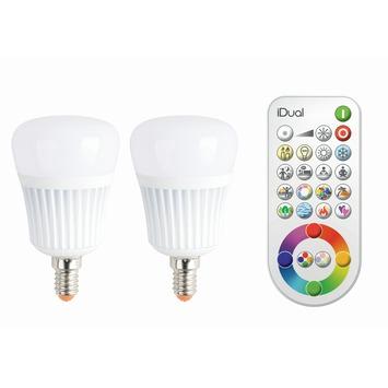 idual led lamp e14 7w 40w 470 lumen 2 stuks dimbaar incl afstandsbediening