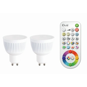 iDual LED spot GU10 6,5W = 40W 345 lumen 2 stuks, incl. afstandsbediening