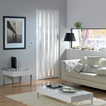 Porte accordéon Larya Grosfillex PVC 205x84 cm blanc brillant