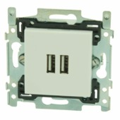Niko stopcontact 2x USB wit
