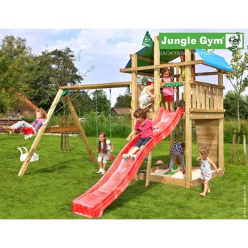 Portique de jeux Jungle Gym Fort avec long toboggan rouge, raccord pour tuyau et balançoire double