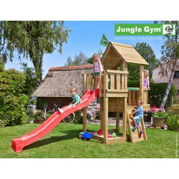 Tour de jeux Jungle Gym Cubby avec long toboggan rouge et raccord pour tuyau