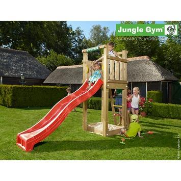 Tour de jeux Jungle Gym Tower avec court toboggan rouge et raccord pour tuyau