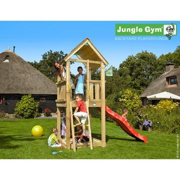 Tour de jeux Jungle Gym Club avec court toboggan rouge et raccord pour tuyau