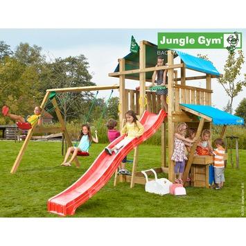 Portique de jeux Jungle Gym Fort avec long toboggan rouge, raccord pour tuyau, balançoire double et mini magasin