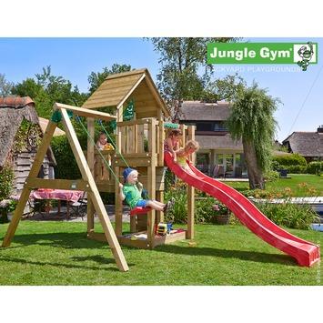 Portique de jeux Jungle Gym Cubby avec long toboggan rouge et balançoire