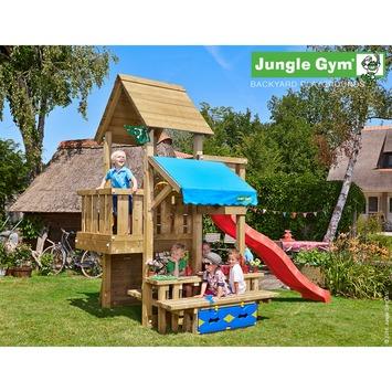 Jungle Gym Cubby met lange rode glijbaan met wateraansluiting en picknicktafel