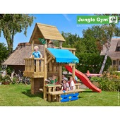 Jungle Gym Cubby met lange rode glijbaan met wateraansluiting en picknicktafel