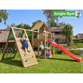 Jungle Gym Cubby met lange rode glijbaan met wateraansluiting, klimrek en schommel