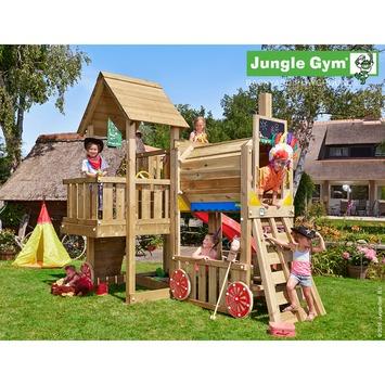 Jungle Gym Cubby met lange rode glijbaan met wateraansluiting en trein
