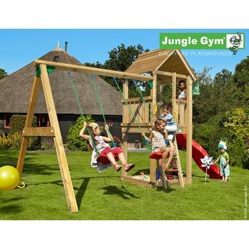 Portique de jeux Jungle Gym Club avec court toboggan rouge,  raccord pour tuyau et balançoire double