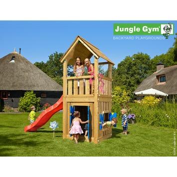Tour de jeux Jungle Gym Club avec court toboggan rouge, raccord pour tuyau et maisonnette