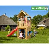 Jungle Gym Club met korte rode glijbaan met wateraansluiting en speelhuisje