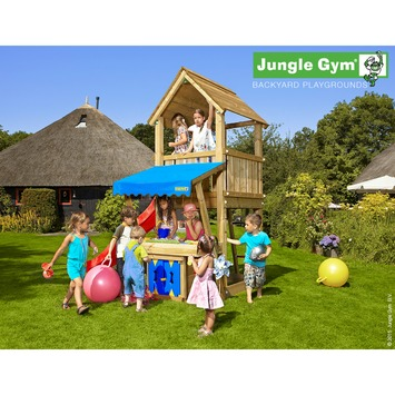 Tour de jeux Jungle Gym Club avec court toboggan rouge, raccord pour tuyau et mini magasin