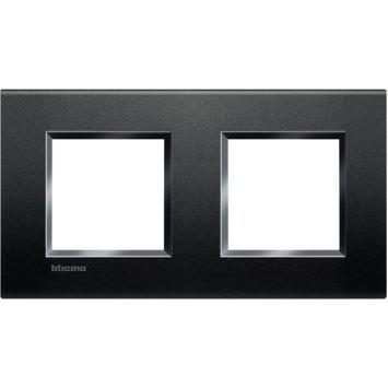 Bticino LivingLight afdekplaat 2-voudig horizontaal zwart