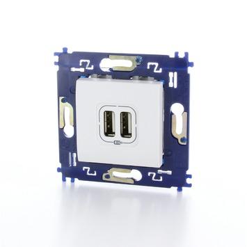 Bticino LivingLight stopcontact 2x USB met schroefbevestiging wit
