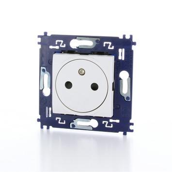 Bticino LivingLight vlak stopcontact 2-polig met aarding en schroefbevestiging vlak wit