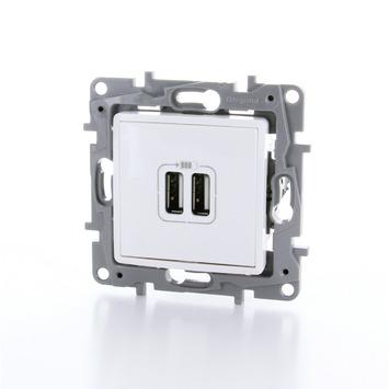 Legrand Niloé stopcontact 2x USB wit