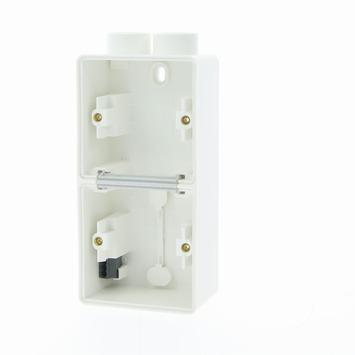 Niko Hydro opbouwdoos 2-voudig verticaal met 2 ingangen spuitwaterdicht wit