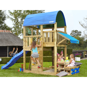Speeltoestel Jungle Gym Farm met korte blauwe glijbaan en picknicktafel